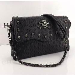 Elegant Black Rivet Skull Printed Shoulder Bag
