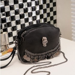 Folk Style Punk Rivet Double Zipper Shoulder Bag