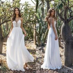 Sweet Backless White Lace Deep V Strap Chiffon Dress Party Long Dress