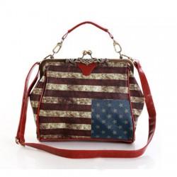 Vintage American Flag Carved Shoulder Bag