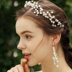 Fresh Handmade Bridesmaid Small Flower Branch Wedding Crystal Hair Band Bride Hair Accessories