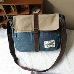 Leisure Preppy Dot Canvas Shoulder Bag