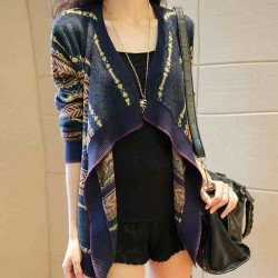 Fashion Folk Style Chic Striped Cardigan Sweater