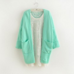 New Fashion Mint Green Bat Sleeve Korean Loose Knit Cardigan Sweater