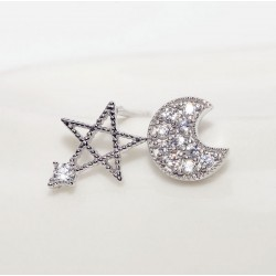 Moon And Stars Asymmetric Anti Allergic Zircon Silver Ear Studs