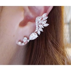 Shiny Rhinestone Angle Wings Stud Earring