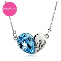 Heart Shape Love Letter Crystal Pendant Necklace