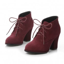 String Nubuck Leather Thick High Heel Ankle Boots