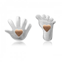 Cute Lovely Palm Sole Heart Silver Stud Earrings