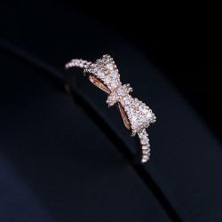 Shiny Crystal Gold Plating Bow Ring