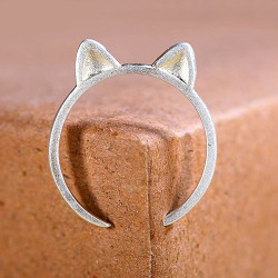Fresh Cat Ears Silver Jewelry Opening Ring