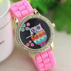 Cute Owl Rhinestone Silicone Girl Watch