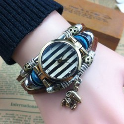 Handmade Striped Animal Charm Leather Bracelet Watch