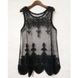Vintage Full Lace Embroidery Transparent Crochet Blouse Shirt