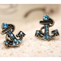 Retro Style Navy Rhinestone Anchor Earrings