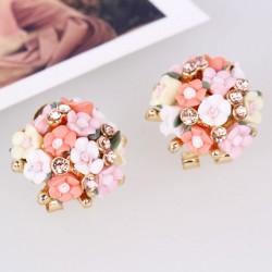 Sweet Ceramic Roses Ball Earrings Clips/Studs
