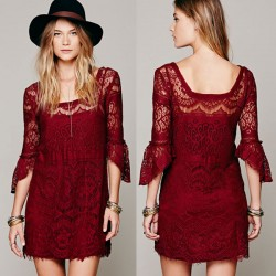 Hollow Floral Irregular Sleeve Lining Lace Dress