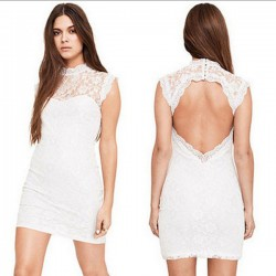 Bodycon Plum Pattern Backless Lace Dress