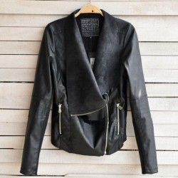 Punk Zipper Double Lapel Leather Jacket