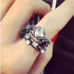Personality Four Piece Rhinestone Alloy Index Finger Rings