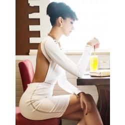 Sexy Backless Long Sleeve Halter Dress