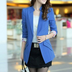 Elegant Floral Lace Cuff Lapel Long Suit Coat