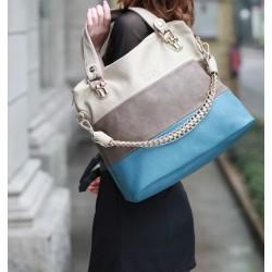 Fashion Mixed Color Striped Leisure Handbag&Shoulder Bag
