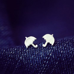 Matte Color Cute Childlike Umbrella Silver Pins Earrings