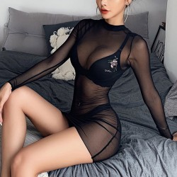 Sexy Black Thin Mesh Nightgown Chemise Long Sleeve Perspective Dress Intimate Lingerie