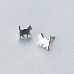 Cute Mini Brushed Cat Ear Studs Animal Jewelry Kitty  925 Silver Earrings Studs