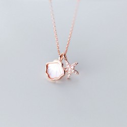 Cute Shell Starfish Ocean Style Pendant Chain Clavicle 925 Silver Charm Women Necklace