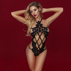 Sexy Hollow Out Fishnet Teddy Strappy Lingerie See Through Halter Backless Bodysuit Women's Underwear Lingerie