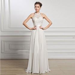 Elegant Wedding White Long Dress Lace Sleeveless Party Bridesmaid Dress Formal Dress