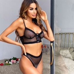 Sexy Soft Lace Perspective Button Bra Panty 2 Piece Set  Black Comfortable Intimate Women's Lingerie