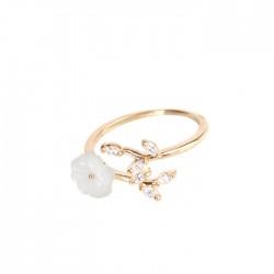 Fresh Cherry Flower Shell Crystal Leaves Branches Women's Open Ring