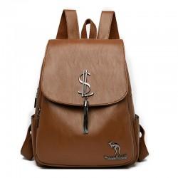 Fashion Coin Symbol Tassel Soft PU Student OL Backpack College Backpack