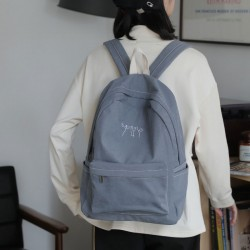 New Blue Cute Cat Polyester Cotton Plus Size School Backpack Simple Laptop Student Bag