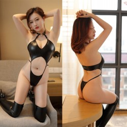 Sexy Bodysuit For Women Gothic Neck Ring Strap Pu Patent Leather One Piece Teddy Intimate Lingerie