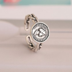 Retro Queen Silver Twist Ring Portrait Coin Punk Hollow Hip Hop Opening Ring
