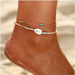 Leisure Simple Shell Bead Summer Two Layer Beach Girl's Anklet