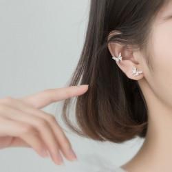 Sweet Double Butterfly Earring For Women Crystal Butterfly Earring Clips Silver Earring Studs