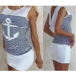 Anchor Striped Hooded Sleeveless Dress