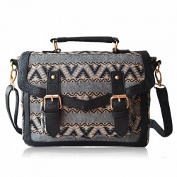 Retro Elegant Wavy Lines Double Hasp Messenger Bag HandBag Shoulder Bag