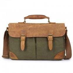 Vintage  Briefcase Leather Canvas Double Hasp Shoulder Bag Messenger Bag