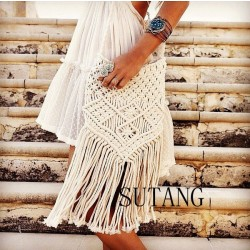Elegant Fresh Bohemian Weave Tassel Hollow Shoulder Bag Messenger Bag