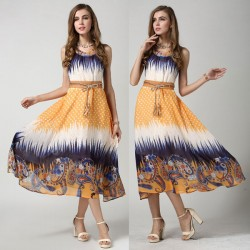 Summer Colorful Sleeveless Flower Chiffon Dress