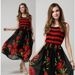 Striped Silk Stitching Red Flower Sleeveless Dress