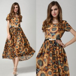 Elegant Ladies Sunflower Short-sleeved Chiffon Dress