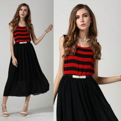 Summer Striped Vest Stitching Sleeveless Chiffon Dress