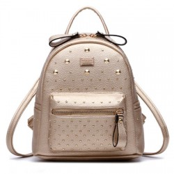 Classic Rivet Backpack Champagne Bilateral Zipper Travel Bag